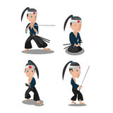Young Japan Samurai Cartoon Character Vector Stock Image