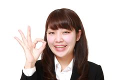 Young Japanese Business woman showing perfect sign Stock Image