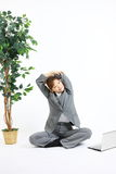 Young Japanese business woman takes a rest Stock Photos