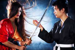 Young japanese couple fighting royalty free stock photos