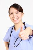 Young Japanese female doctor succeeds Stock Image