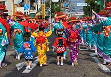 Young Japanese Festival Dancers in Kimono Stock Photo