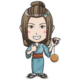 Japanese Female Character in Kimono Suit. Young Japanese Girl in blue kimono suit, smiling, carrying a japanese classic toy with classic japanese classic royal/ Stock Photos