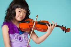 Young Japanese Girl Portrait with Violin Royalty Free Stock Image