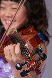 Young Japanese Girl Portrait with Violin Royalty Free Stock Photography