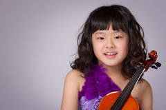 Young Japanese Girl Portrait with Violin Stock Photos