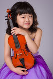 Young Japanese Girl Portrait with Violin Royalty Free Stock Photos