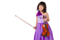 Young Japanese Girl Portrait with Violin Stock Photo
