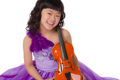 Young Japanese Girl Portrait with Violin Stock Images