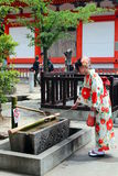 Young Japanese girl in traditional Kimono at Kyoto Kiyomizu temple Stock Photography