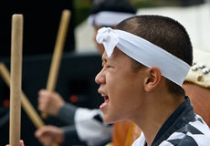Young Japanese male performing taiko Royalty Free Stock Image