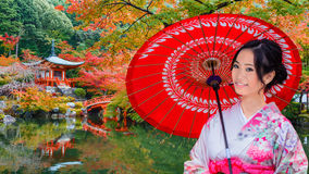 Young Japanese Woman at Daigoji Temple in Kyoto Stock Image