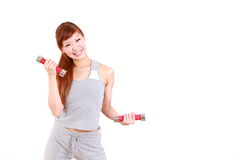 Young Japanese woman doing dumbbell exercises Stock Photos