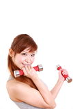 Young Japanese woman doing dumbbell exercises Royalty Free Stock Photos