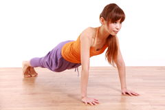 Young Japanese Woman Doing push-up Stock Images