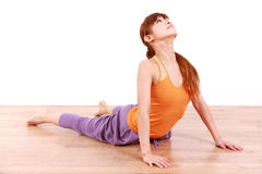Young Japanese Woman Doing YOGA cobra pose Royalty Free Stock Photography