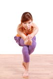 Young Japanese Woman Doing YOGA eagle pose Royalty Free Stock Image