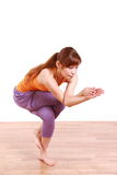 Young Japanese Woman Doing YOGA eagle pose Stock Image
