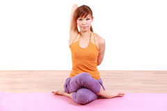 Young Japanese Woman Doing YOGA Royalty Free Stock Images