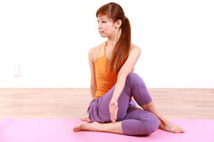 Young Japanese Woman Doing YOGA Royalty Free Stock Image