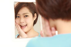 Young Japanese woman with good condition skin Royalty Free Stock Photo