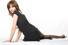 Young japanese woman lying on the floor. Royalty Free Stock Images