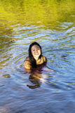 Young Japanese Woman Sitting River Dress Smiling Stock Photo