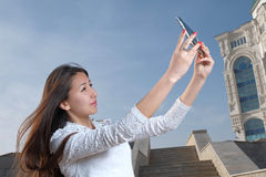 Young japanese women with long hair do selfie in Royalty Free Stock Photos