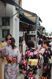 Young Japanese women in traditional Kimono at Kyoto street Stock Photos