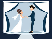 Young jewish couple at chuppah. Funny vector cartoon illustration Royalty Free Stock Photos