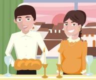 Young  jewish couple at shabbat dinner Stock Image