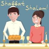 Young jewish couple welcoming shabbat - vector cartoon illustra. Tion vector illustration
