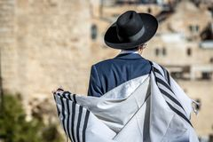 A young Jewish walking in the streets of Jerusalem stock photo