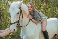Brunette woman riding dark horse at summer green forest. Young jockey girl riding a brown horse in the summer at sunset Royalty Free Stock Images