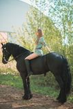 Brunette woman riding dark horse at summer green forest. Young jockey girl riding a brown horse in the summer at sunset Stock Photos