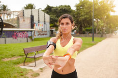 Young jogger training in the park in summertime Royalty Free Stock Photo
