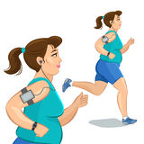 Young jogging woman, loss weight cardio training Royalty Free Stock Image