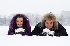 Young joyful couple in winter park Stock Photo