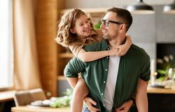 Free Young Joyful Father And Daughter Playing Together At Home Stock Photography - 217203442