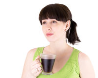 The young joyful woman drinks coffee Royalty Free Stock Photo
