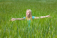 The young joyful woman in the field of green ears Royalty Free Stock Image
