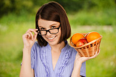 Young joyful woman wearing glasses Royalty Free Stock Image
