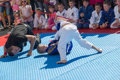 Young judo wrestlers 8-10 years on the demonstration performance Stock Images