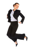 Young jumping female office worker stock images