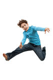Young jumping showing OK sign royalty free stock images