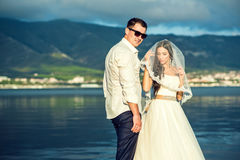Young just married couple in wedding dress and suit at the seaside with mountains on background Stock Photography