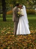 Young just married kissing. Young happy just married kissing in park autumn Stock Photos