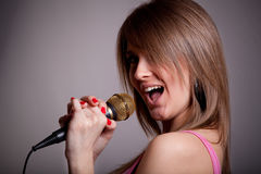 Young karaoke girls Royalty Free Stock Photography