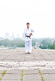 Young karate master doing exercise Royalty Free Stock Image