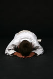 Young karate student bowing Royalty Free Stock Photos